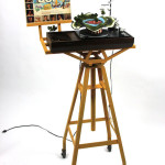 Let Yourself Go, 2007 miniatures on vinyl, record player, wood