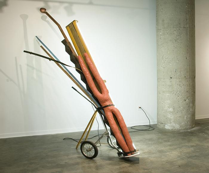 United Rambler, 2010 golf bag cart, fluorescent light fixture, wood, urethane rubber, copper, steel