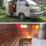 Popps Mobile Sauna, 2012 collaboration with Benny Henningsen 1989 Mitsubishi van, cedar, steel, christmas lights