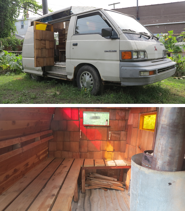 Popps Mobile Sauna, 2012 collaboration with Benny Henningsen 1989 Mitsubishi van, cedar, steel, christmas lights