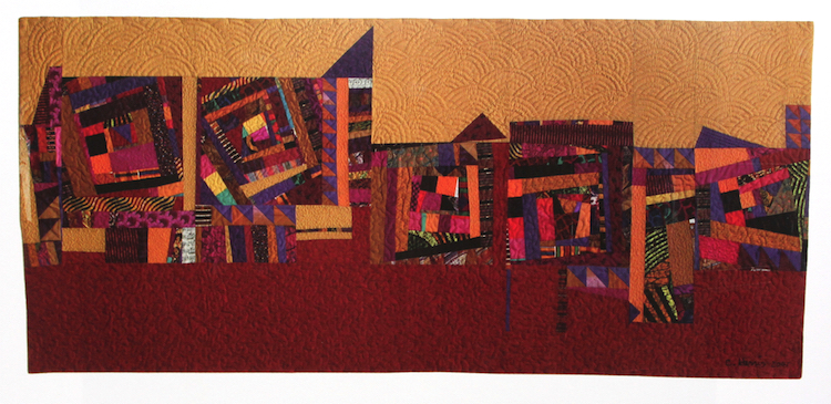 "City Rhythms, 2001, printed cottons, cotton batting, machine pieced and quilted, 32 x 71"". Courtesy of the artist."