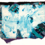 "Ice Music, 2013, printed cottons, linen, acrylic on muslin, cotton batting, machine pieced, hand stitched, machine quilted, 26 ½ x 30"". Courtesy of the artist."