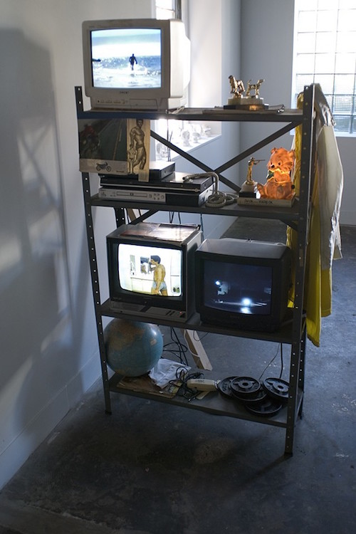 """Be (with) Him, 2015, video, found objects, 40""""x78""""x18""""."""