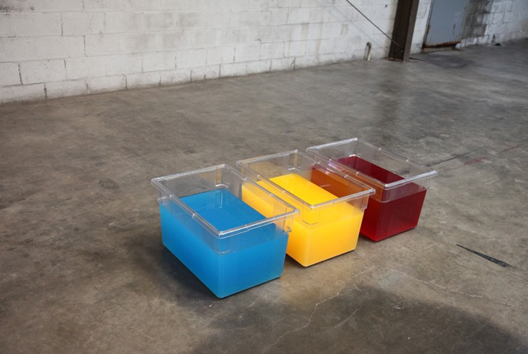"Huachipato (2015) Cambro's water and Kool Aid, 8'x2'x2'. From ""What else can we measure it against if we can't measure against everything that's come before."" Young World, Detroit"