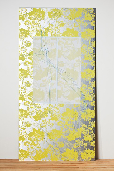 Toward the Left, 2010, Panel, wallpaper, mylar, paint, thread, pins, 8' x 4' Image by Tim Thayer, courtesy of the artist