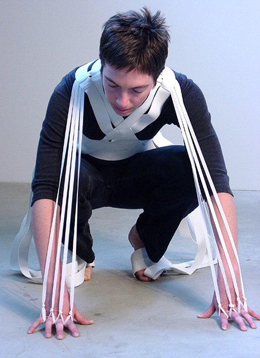 Experiment: Fingers to Toes, 2003, Elastic, Dimensions variable Image courtesy of the artist