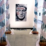Oracle of Delphi, 1992. Silver print, SX‐70, vinyl letters, wood, fabric, metal, stones, 12 x 6 x 8'.  Courtesy of the artist
