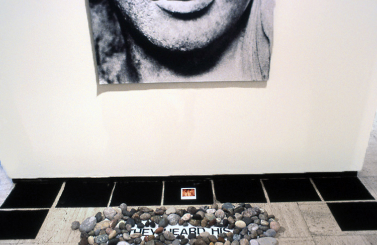 Oracle of Delphi (Detail), 1992. Silver print, SX‐70, vinyl letters, wood, fabric, metal, stones, 12 x 6 x 8'.  Courtesy of the artist