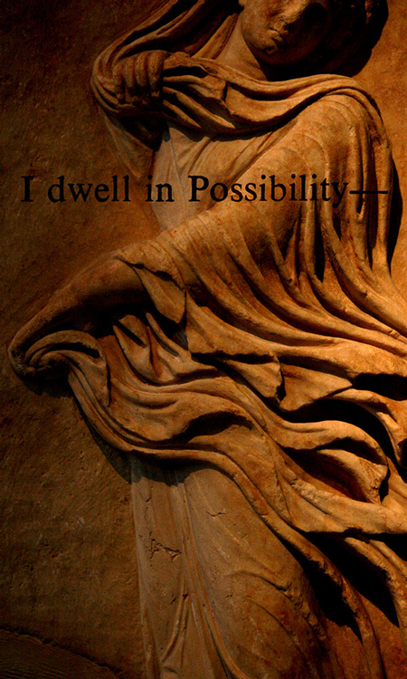 "I dwell in possibility— (Emily Dickinson), 2008. From the Poets series. Dye sublimation print on  chiffon, 47 x 23"". Courtesy of the artist"