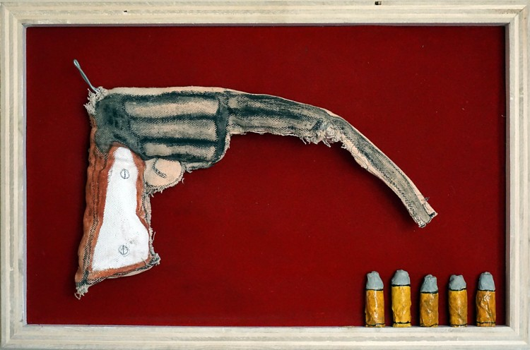 Soft Gun. 2015. Canvas, acrylic, metal wire, velvet, water putty. 17.5 x 11.5 x 3 inches. Courtesy of the artist.