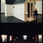 Sanctuary, 1993, 18′ x 16′ x 16′, wood, shingles, paint, glass, lights
