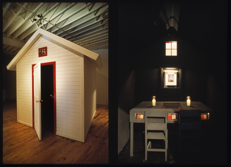 Little White House, 1993, 11′ x 8′ x 9′, wood, shingles, paint, glass, lights