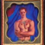 "Noli Me Tangere, 1992, 4"" x 3 ½ "", colored pencil, rhinestones, brass, velvet, wood case"