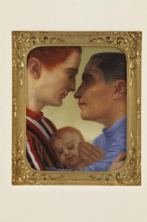 "Unto Us a Child is Born, 1993, 4"" x3 ½"", oil on panel, brass, Corian"