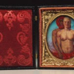 "Kouros, 1993, ­4"" x 6"" opened case, acrylic on panel, velvet, brass, wood"