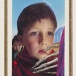 "Bistre and Ash and a Boy, part of Arcada Triptych (left side), 2010-13, 5 ½"" x 3 ½"", colored pencil, linen paper, blood"