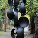 "Triosphere, 2010. Welded Steel, 144 x 72 x 65"".  Photo: R.H. Hensleigh"