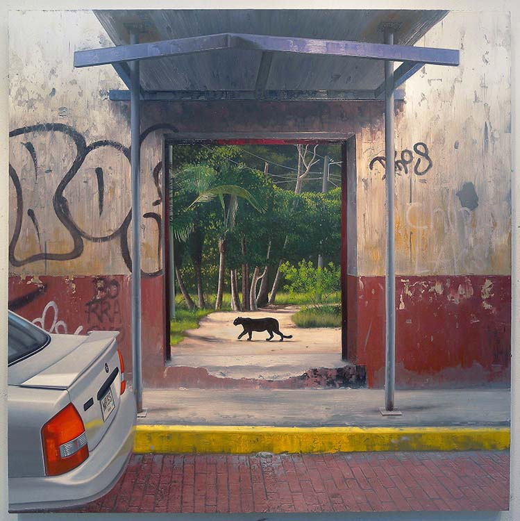 "Day of the Panther, 2015, oil on panel, 48 x 48"". Courtesy of the artist."