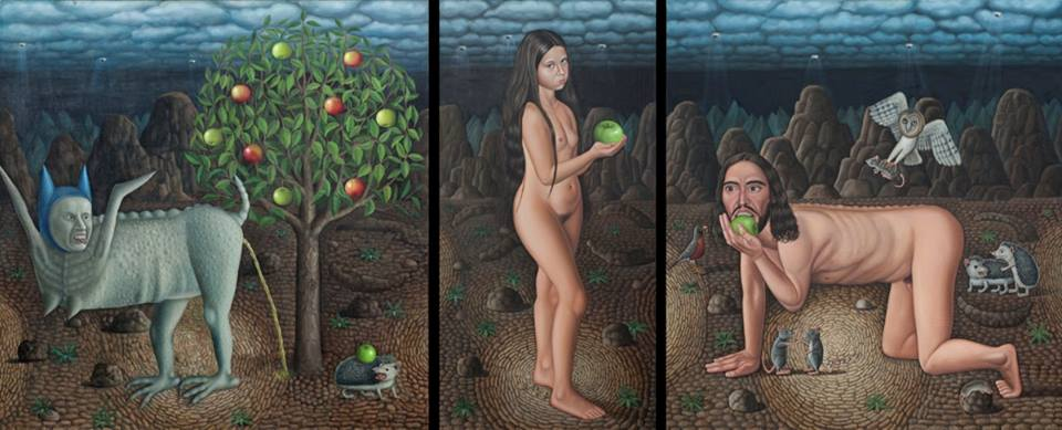 Desecration of the Self, 2015, triptych, 52x 134 , oil on canvas