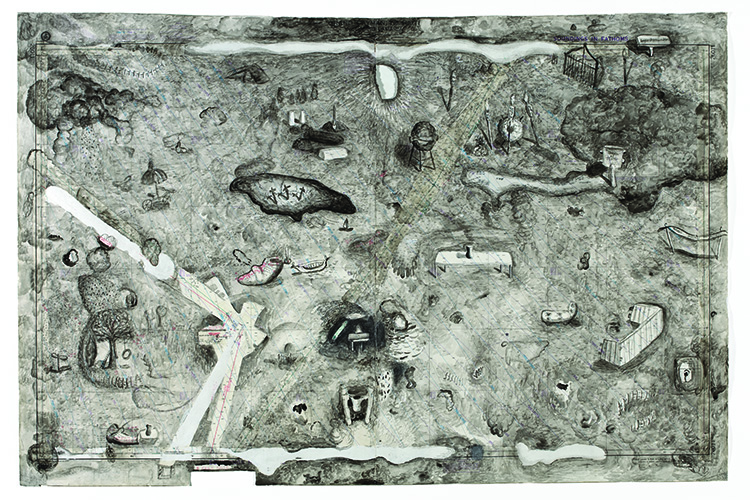 Map: Allegory of Childhood. 2008. Watercolor on water table map, 36 x 54 in.