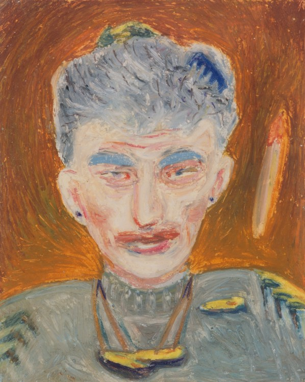 "Stella (a page from the 'Memory Portrait Book""), 1982  Oil pastel on paper  7 x 6 inches. Photography by Tim Thayer. Image courtesy of the artist."