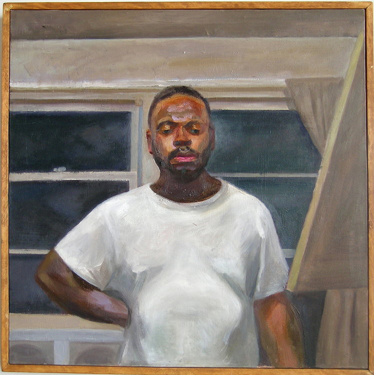 "Self Portrait with White Shirt, 2004, oil on canvas, 36 x 36""."