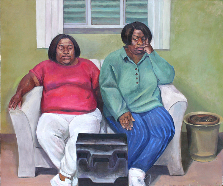 "Kim and Tonya Watching T.V., 1998, oil on canvas, 60 x 72""."