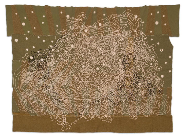 Seep, 2014, army blanket, wool, silk, cotton, 48 x 73 in.