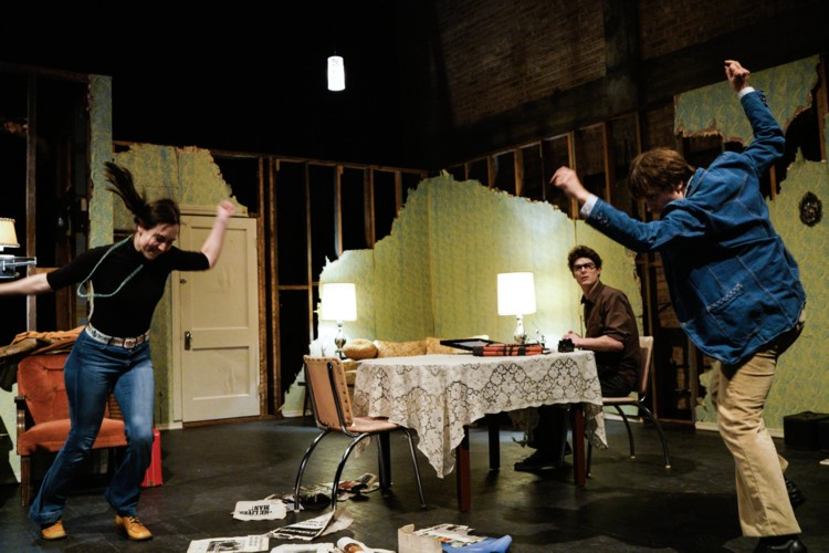 Performance of The Radicalization Process at Play House. Liza Bielby (left), Richard Newman (right), and the third cast member Dave Sanders (center). 2016, Photography by Kat Schleicer