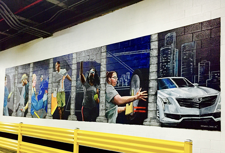Methodical Harmony, 2016, wall painting, 15 x 30 ft., GM Detroit-Hamtramck Assembly Plant, 2500 E. Grand Blvd.