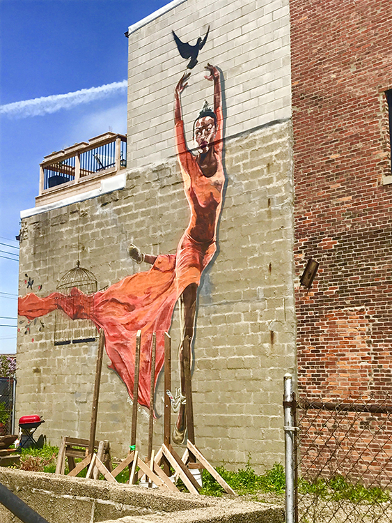 Precious Freedom, 2016, wall painting, 33 x 26 ft. Corktown, Trumbull and Bagley, rear wall.
