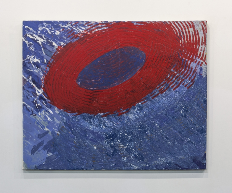 "Red Spinner, 2009, Mixed media on canvas, 24"" x 30"""