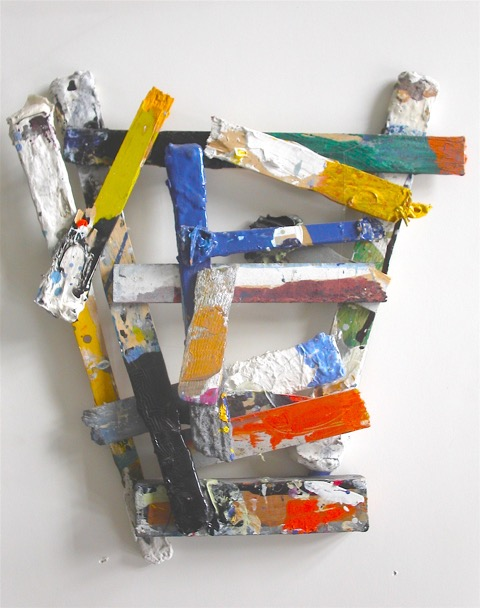 "Self Portrait, 2008, Mixed media on sticks, 14"" x 15"""