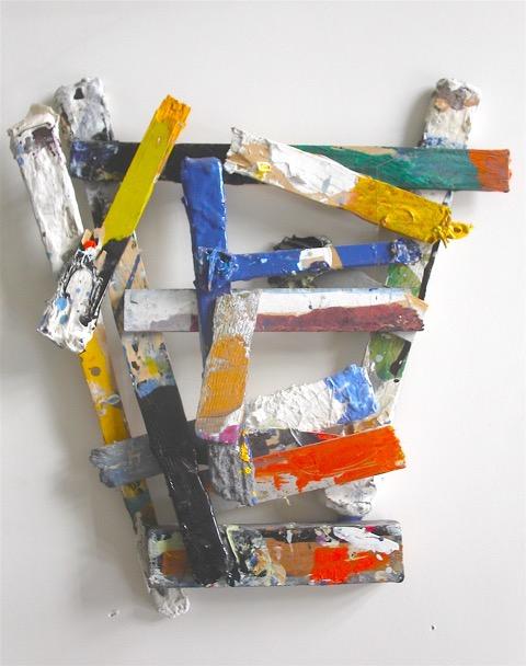 "Self Portrait, 2008, Mixed media on sticks, 14"" x 15"""