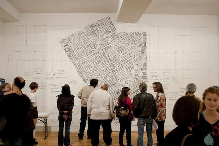 Redact Hamtramck, 2012, Charcoal, paper, participation, and video documentation, 14ft x 22ft x 2ft