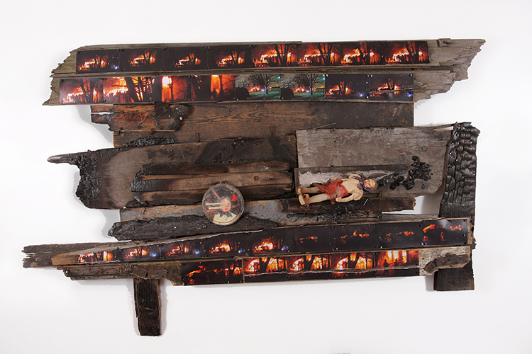Plague of Arson and Fire Study 1, 2012, mixed media assemblage, 72 x 36 in.
