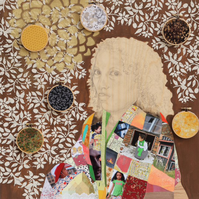 Self Portrait, 2016, mixed media collage on wood, 24 x 24 in.