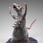 Water Rat, 2011, handmade felt, stones, and stitching, 16 x 11 x 18 in. Photography by Tim Thayer.