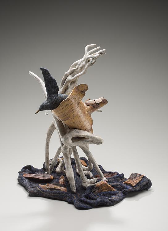 Starling Teapot, 2014, roots, birch bark, handmade felt, petrified wood, raw flax, kozo, quartz crystal, 14 x 12 x 13 in. Photography by Tim Thayer.