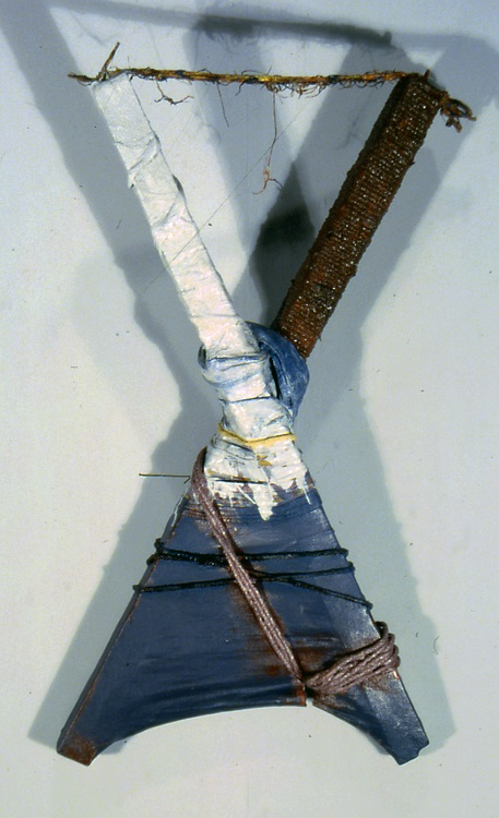 Held Fast, 1985-86, canvas, wood, cloth, rope, 28 in x 16 in