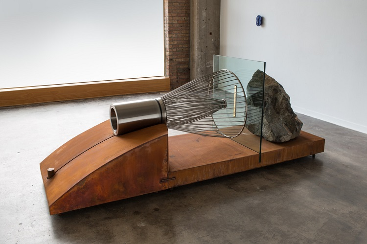 Tea Whisk & Boulder, 2016, steel, glass, and gold leaf, 4' x 10'. Photography by Tim Thayer