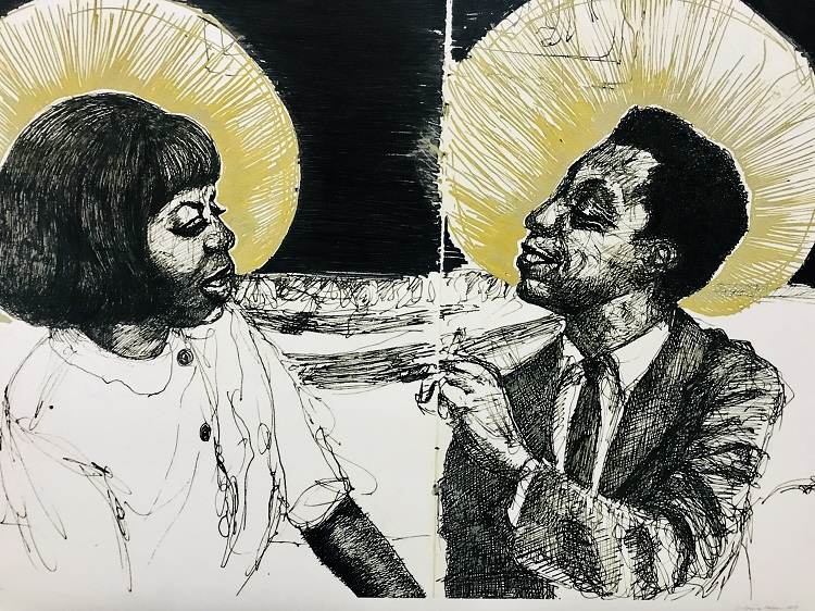 Baldwin & Me (Depiction of the author in conversation with singer Nina Simone), ink on paper, 2017. Photography by Nichole Christian.