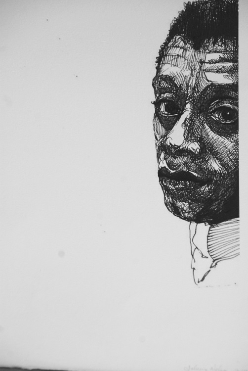 Baldwin & Me, 2017, ink on paper. Photography by Nichole Christian.