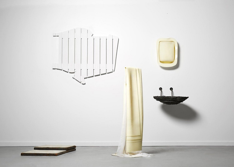 Morning Routine, 2016, steel, wood, silicone, netting, dimensions variable. Photography by Micaela Ruiz.