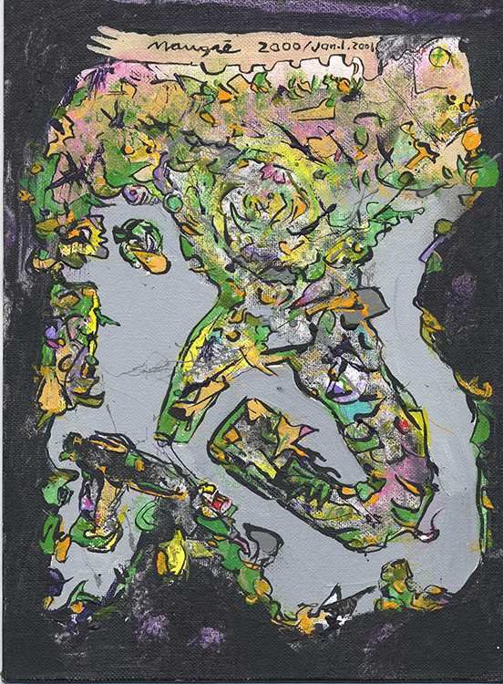 Falling Landscape, 2000, acrylic on canvas board, 12 x 9 in.