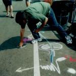 Sidewalk drawing street art performance, 1998.