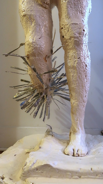 Exit Eden, 2004, urethane foam, resin, metal forks, 59 x 16 x 12 in. Photography by Steve Hughes.