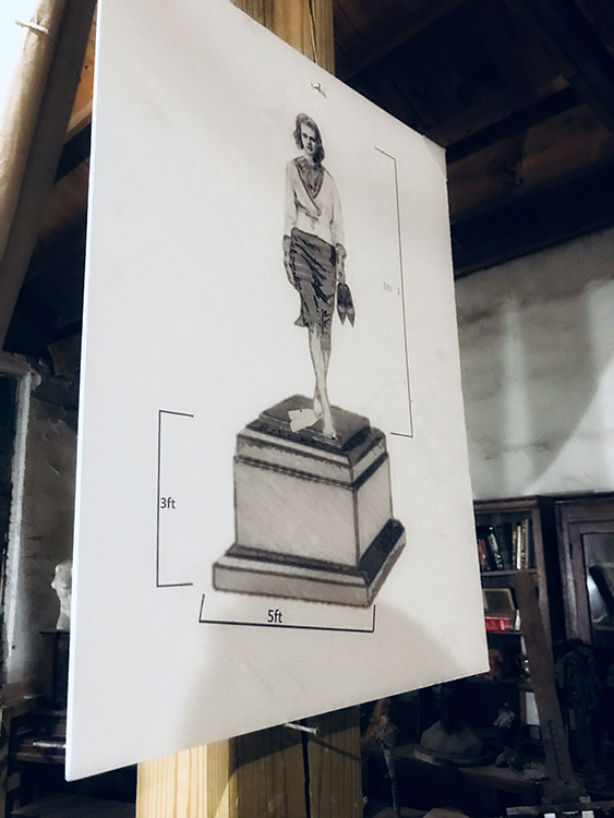 Untitled sketch of  Brantley's first foray into bronze, a forthcoming, unnamed sculpture of Viola Liuzzo, 2017. Photography by Nichole M. Christian.