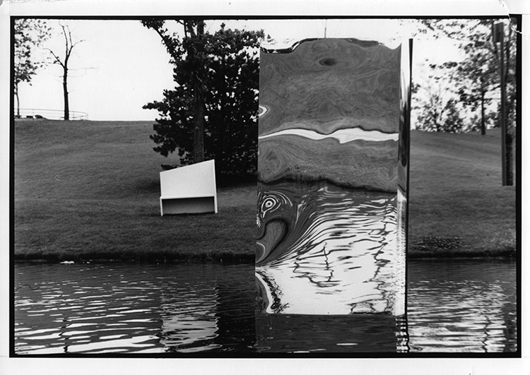 Observer/Observed, temporary installation, Chene Park, Detroit, 1986, (4 units), painted wood, mirrors, sand bags, Styrofoam, plastic pipe, 12 x 4 ft.
