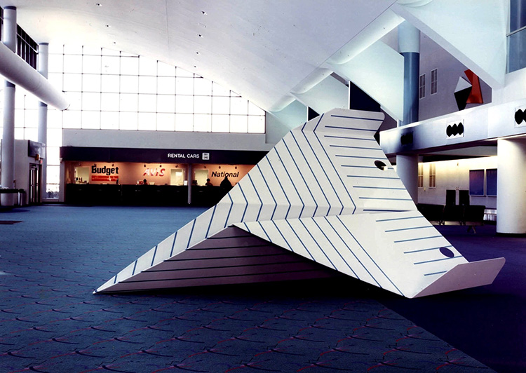 Paper Airplane Series with Deep Groove (one of three planes), 1994, Bishop International Airport,  Flint, Michigan, painted steel, 14 x 10 x 7 ft.
